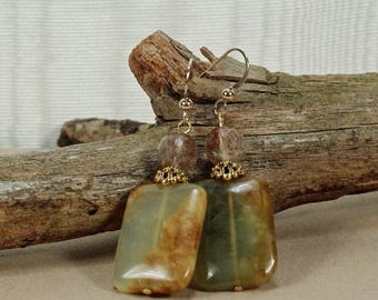 Classy Jade and Quartz Gemstone Earrings, Southwestern Gemstone Earrings, Jade Quartz Gold Dangle Earrings, Green Jade Gemstone Earrings