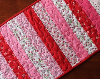 Quilted Valentine Table Runner, Valentine Table Runner, Always and Forever Table Runner, Strips, Jelly Roll, Red Pink White, Moda, Fabric