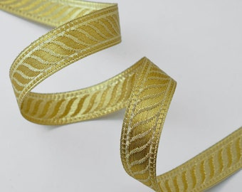 2-yards 7/8'' (21mm) Metallic GOLD Jacquard Ribbon Trim, SMB-1002A
