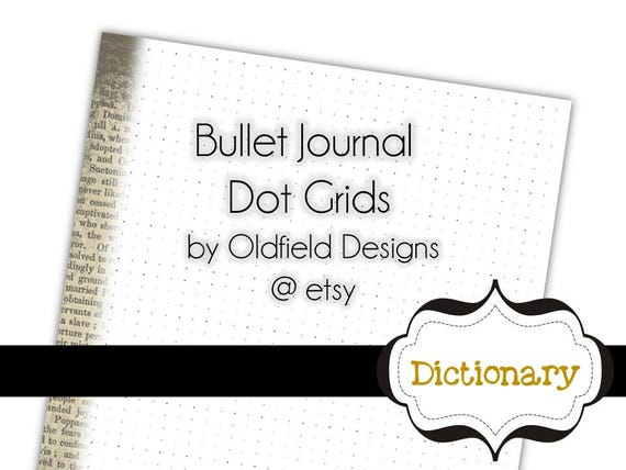 Bullet Journal Printable Planner Pages - Dot matrix Grid paper -Letter Size 8.5x11 - Dictionary Pages Collection