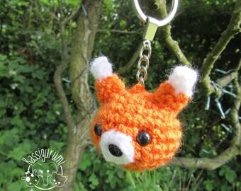 Mini Felix the fox amigurumi keyring