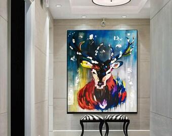 DEER Canvas Print, Modern Print, Large Print, Huge Wall Art, Canvas Wall Art, Modern Painting, Abstract Painting by Kathleen Artist