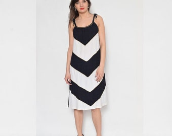 Vintage 80's Chevron Midi Dress / Sleeveless Black And White Dress / Chevron Black Dress / Slip Summer Dress - Size Medium