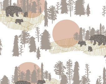 Crib Sheet, Woodlands Crib Sheet, A Walk in the Woods Crib Sheet, Bear Crib Sheet, Gray, Pink and White Crib Sheet