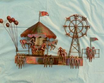 Circus art, vintage wall art, playroom decor, metal sculpture, Fall Fair theme, Horse Art, Kids wall art, kids retro decor, Brutalist art