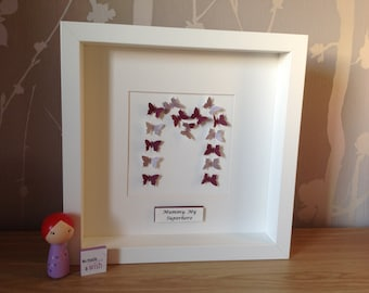 Handmade framed initial picture. Adoption gift. New mum gift