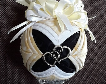 Quilted Engagement/Wedding/Anniversary Keepsake Ornament