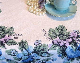 Fifties Linen Tablecloth, Blue and White Fruit Small Tablecloth, Table Topper, Table Linens, by mailordervintage on etsy
