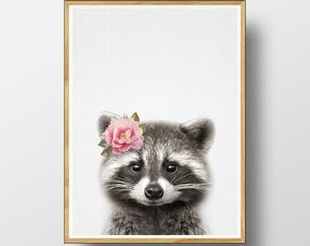 Racoon Print, Woodlands Nursery, Woodlands Decor, Nursery Animal, Woodlands , Nursery Woodland Art, Nursery Print, Printable Woodlands