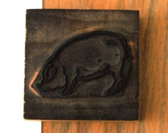 Wooden rubber stamp: pig