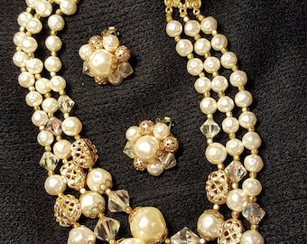 Stunning vintage 2 pce set. 3 strand chocker with  BEAUTIFUL Victorian pearls, Rhinestone and gold tone filigree beads. Clip on matching .