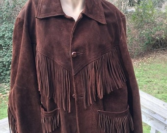 ON SALE Boyfriends Vintage 60s 70s Retro Chocolate Brown Suede Leather Fringed Urban Cowboy Country Western Hipster Jacket Coat
