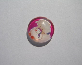 Glass cabochon round 14 mm with the image of bear and Penguin