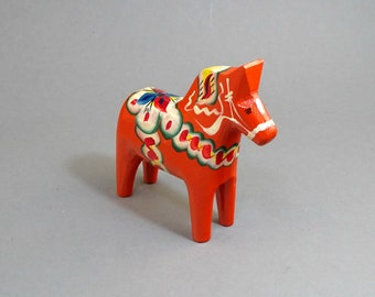 """Vintage Swedish Wooden Small 4"""" Dala Horse with Label  -  Free shipping!!!"""