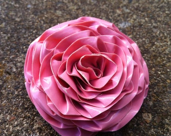 Pastel duct tape etsy light pink rose hair clip duct tape flower brooch pastel pink aloadofball Choice Image