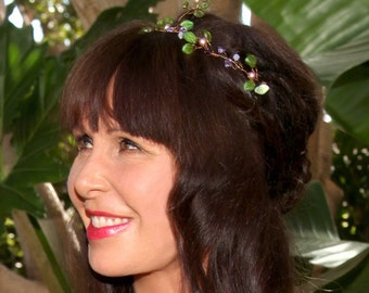 Boho Style Green and Purple bridal hair crown, floral bridal hair vine, bridal hair accessories, wedding accessories,