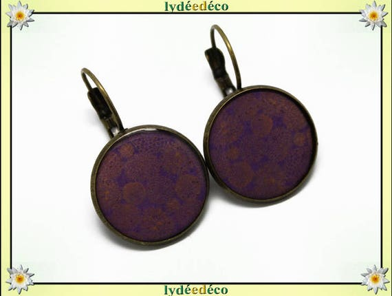 Earrings retro Japan gold lilac purple sakura cherry resin and brass bronze 2cm