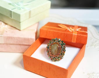 Handmade Beaded Coral and Green Cocktail Ring