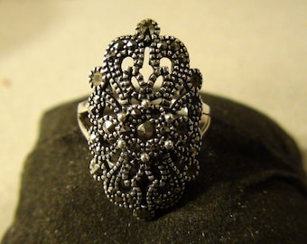 victorian style sterling and marcasite ring
