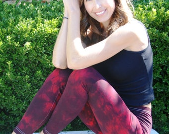 "Twilight Red Tie Dye Yoga Leggings 30"" Inseam"