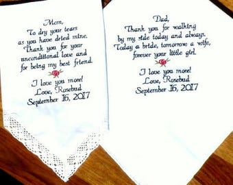Embroidered Wedding Handkerchiefs, Wedding Gifts, Mother & Father of the Bride, Wedding Gift, Personalized Wedding Gift By Canyon Embroidery