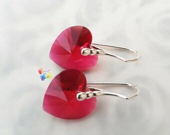 silver crystal earrings, crystal heart earrings, Crystal Earrings, Scarlet Red Heart Earrings, Sterling Silver valentines day, jewelry ruby