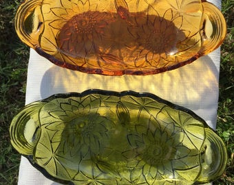 Set of 2, Indiana Glass Lily Pons Pickle Dish/Snack Dish