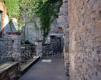 Stone Alley Rustic Wall Decor. Dark Red Picture. Kingston Ontario Canada Architectural Home Decor Photograph. Stone Architecture Kitchen Art