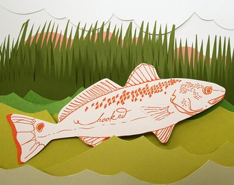 letterpress Hooked Fish die cut card