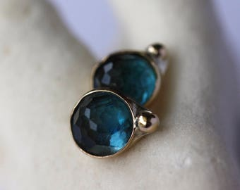 London Blue Topaz Stud Earrings, 14k Gold and Sterling Silver