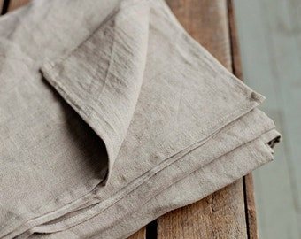 Stone washed linen flat bed sheet. Natural linen colour. Queen, King, Twin, Double sizes.