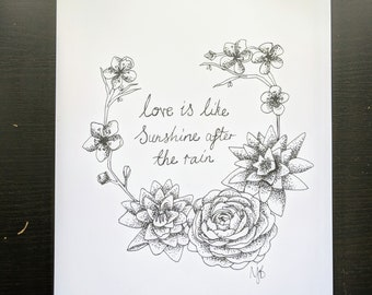 Love Is Like Sunshine After The Rain A4 Print