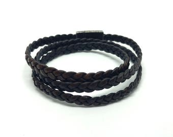 Leather Braided Wrap Bracelet Brown 5 mm wide with magnetic clasp