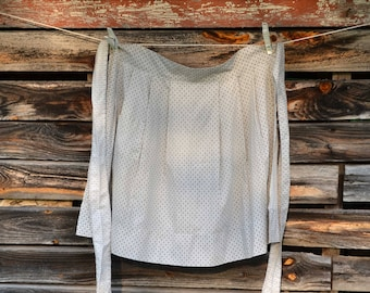 Vintage Handmade Gray Apron, Grey And White Pattern Apron With A Pocket