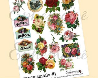 Digital Printable Clip Art Collage Sheet - Fancy Smalls Set 1 - Floral Graphics - Journal Accent Graphics - Printable Collage Sheet