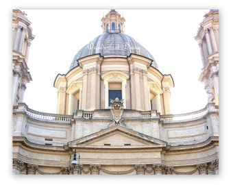 Architectural Print, Rome Photography, Italy Print, Europe Photograph, Church Photography, White Art & Collectibles, Fine Art Photography