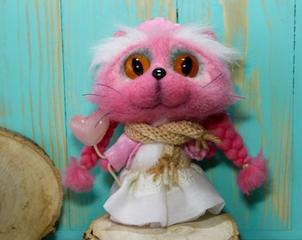 Needle felted cat Pink toys Stuffed kitty cats Fluffy Cat Cute Wool felt Handmade toys Pink cat Fluffy Stuffed animal Stuffed kitty cat
