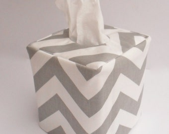 Grey chevron reversible tissue box cover