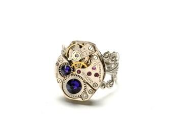 RICH PURPLE Steampunk Ring Steampunk Watch Ring PURPLE Silver Steampunk Ring Steam Punk Jewellery Steampunk Jewelry By Victorian Curiosities