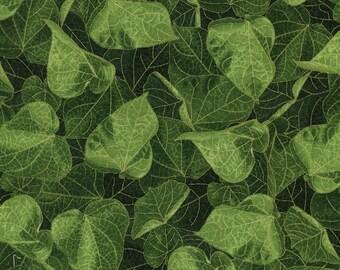 Packed Leaves Green Gold Glory Chong-a Hwang Timeless Treasures Fabric 1 yard