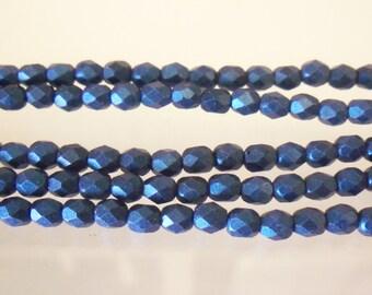 Czech Glass: 4mm Firepolish Metallic Suede Blue 36213