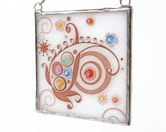 Fused Glass Light Catcher Suncatcher Paisley Fiesta Ornament