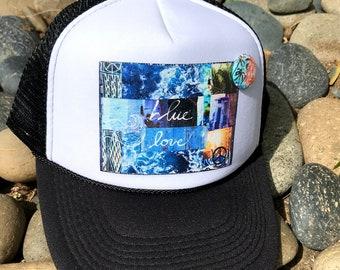 Trucker Hat, BLUE LOVE , limited ed. w/pin back, Aloha, Ocean, Sea, Blue, Beach, Surf, hat, One Size Fits All, foam trucker hat, Best Seller