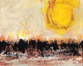 abstract landscape painting sunshine yellow orange black original horizon mid century modern art Summer by Leah Fitts