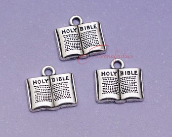 20PCS--15x15mm ,Holy bible Charms, Antique Silver bible Charm pendant, DIY supplies,Jewelry Making LM5007