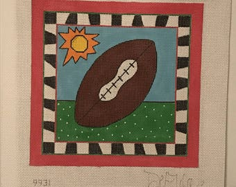 "Clearance - ""Football"" Handpainted Needlepoint Canvas by DeElda Wittmack"