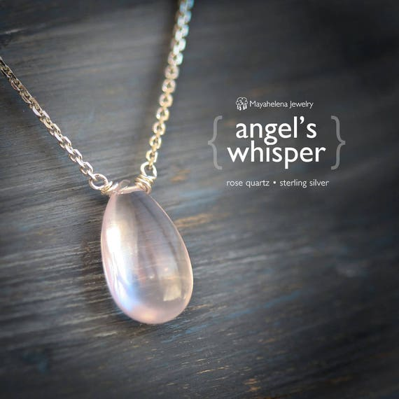 Angel's Whisper - Smooth Rose Quartz Sterling Silver Necklace