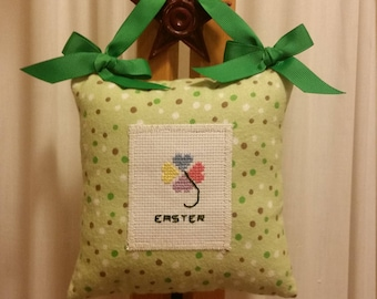 "Easter cross stitch hanging mini pillow. 6.5"" sq."