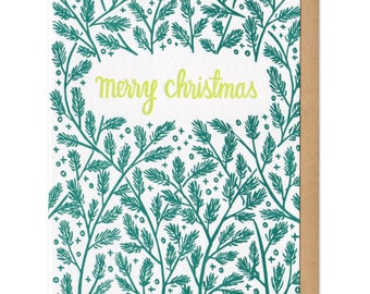 Merry Christmas Pine Boughs Greeting Card