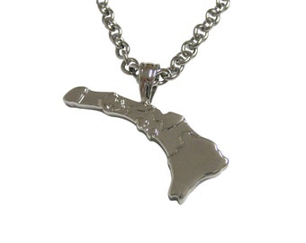 Hawaii State Map Shape Pendant Necklace